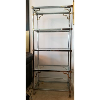 Moving..bids Welcome. Mid-Century Modern Mastercraft Chrome With Gold Accent Etagere Preview