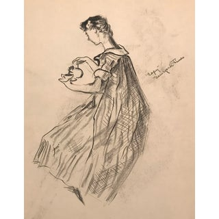 "Mid-Century ""Lady Preparing Tea"" Drawing C. 1950 For Sale"