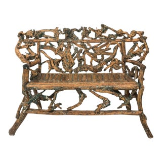 Brown Twig Driftwood Bench For Sale