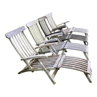 Set of 4 Vintage Teak Wood Folding Reclining Lounge Chairs For Sale