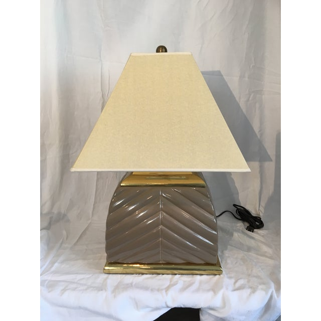 1970s Modern Chevron Taupe Ceramic & Brass Table Lamp For Sale - Image 10 of 10