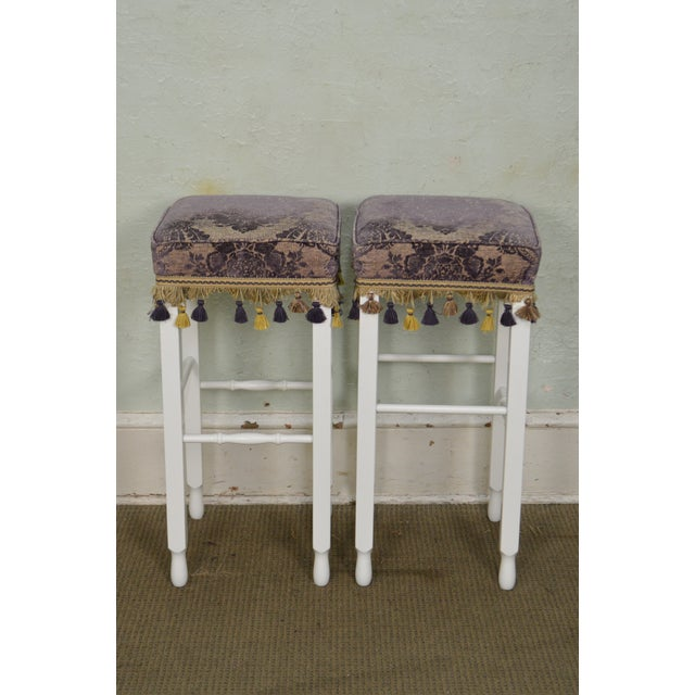 Yellow White Bar Stools w/ Upholstered Seats - Set of 4 For Sale - Image 8 of 11