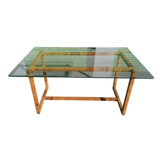 1970s Boho Chic Rattan Wrap Parson Style Table / Desk For Sale