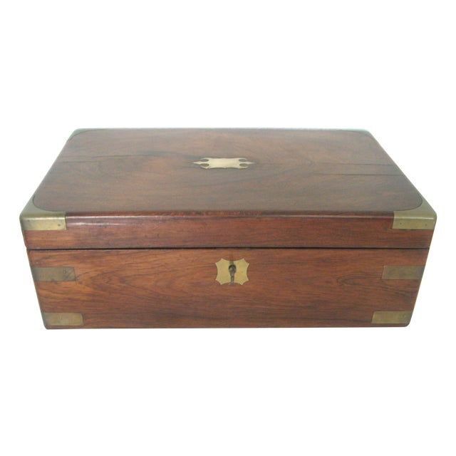 Antique English Walnut Slope Top Deed/ Writing Box For Sale