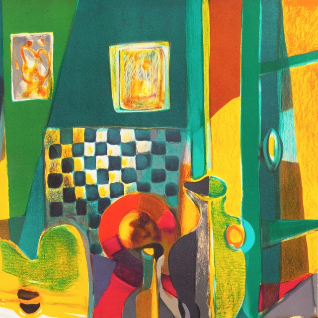 1970s 'Still Life With Guitar' by Marcel Mouly Expressionist Stone Lithograph For Sale - Image 5 of 9