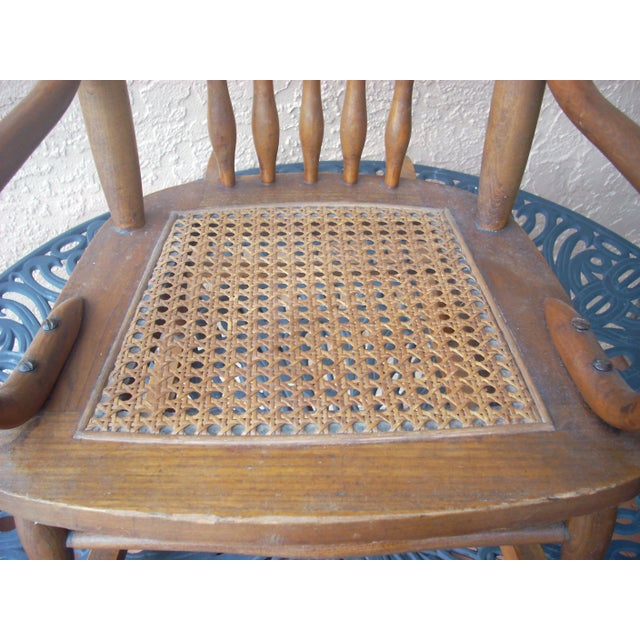 Rustic Child's Caned Rocking Chair For Sale - Image 3 of 7