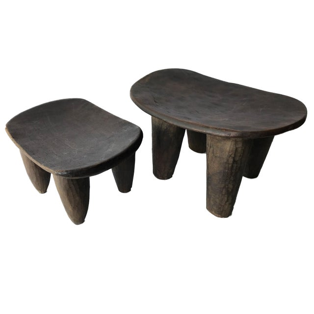 African Senufo Wood Milk Stool I . Coast S/ 2 For Sale In New York - Image 6 of 9