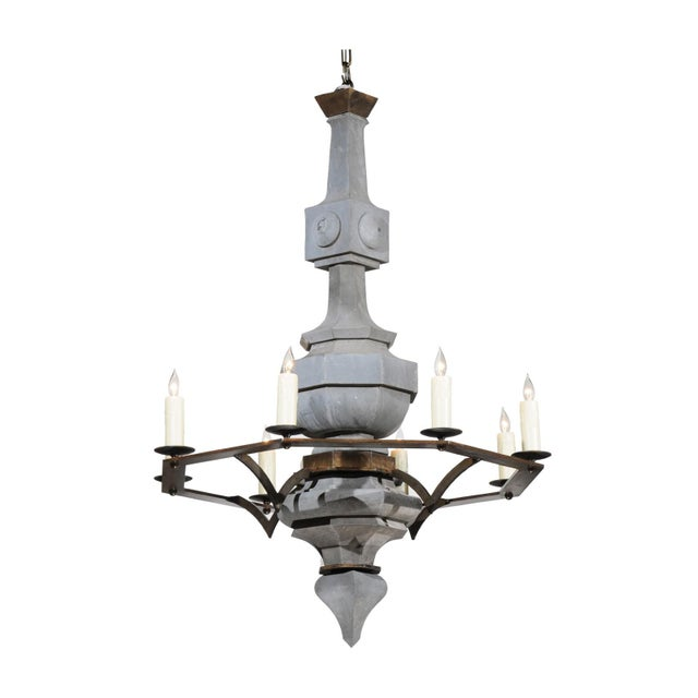 Grand Scale Contemporary Industrial Chandelier Made with 19th Century Zinc Finial For Sale - Image 11 of 11