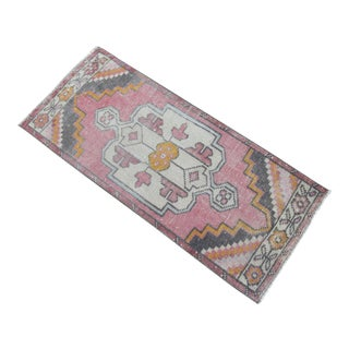 Hand Knotted Door Mat, Entryway Rug, Bath Mat, Kitchen Decor, Small Rug, Turkish Rug - 1′11″ × 3′8″ For Sale