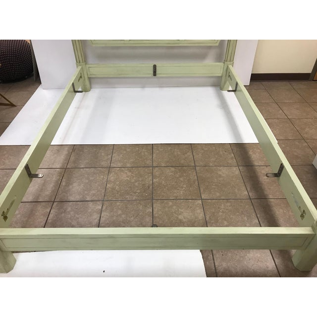 Paint Hollywood Regency Queen-Size Floral Four Poster Bed Frame For Sale - Image 7 of 8