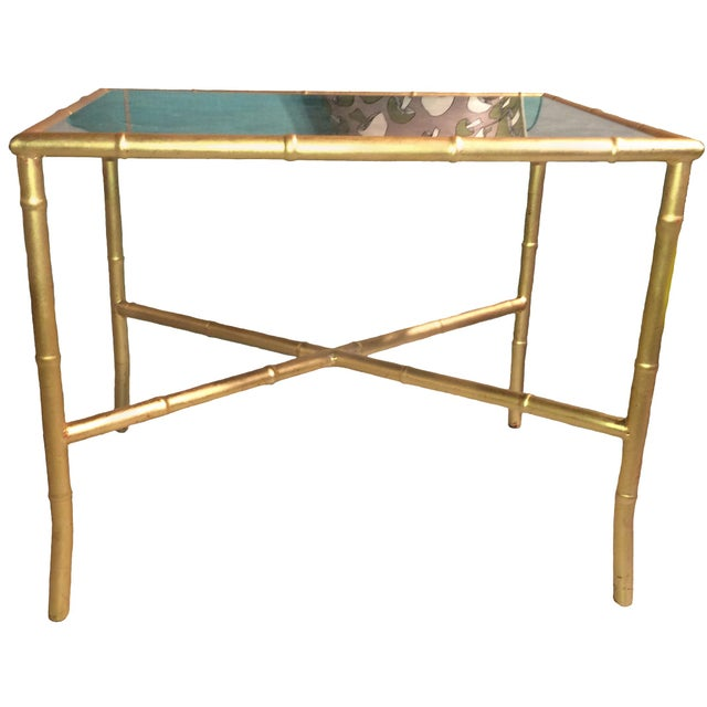 Gold Gilt Faux Bamboo and Mirror Side Table - Image 7 of 7