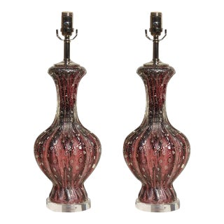 Purple W/Silver Murano Lamps For Sale