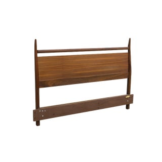 Flaring Walnut Midcentury Headboard- Full / Queen For Sale
