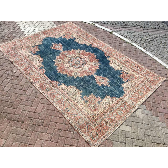 One of a kind hand made oushak rug. This gorgeous hand knotted area rug is made in 1930's by Anatolian tribes. Collectible...