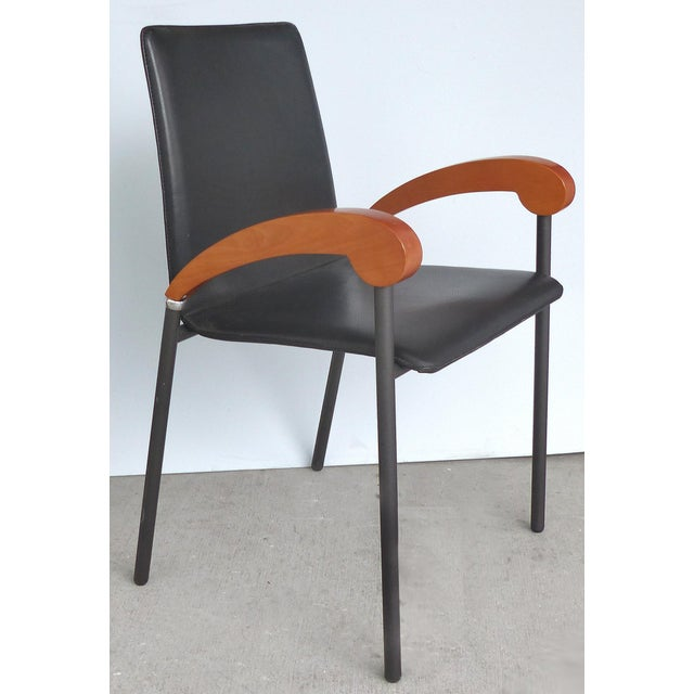 XO Design Metal , Wood & Leather Armchairs for Xo Design-Set of 4 For Sale - Image 4 of 9