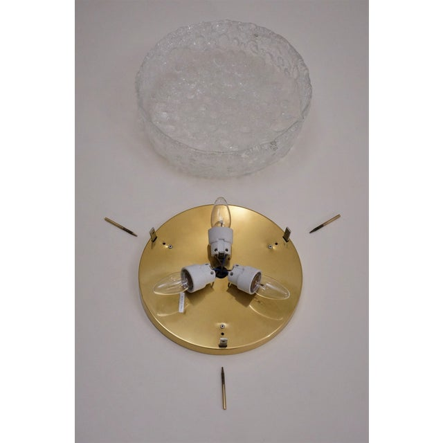 1970s Hillebrand Flush Mount Brass & Glass Shade, German For Sale - Image 10 of 11