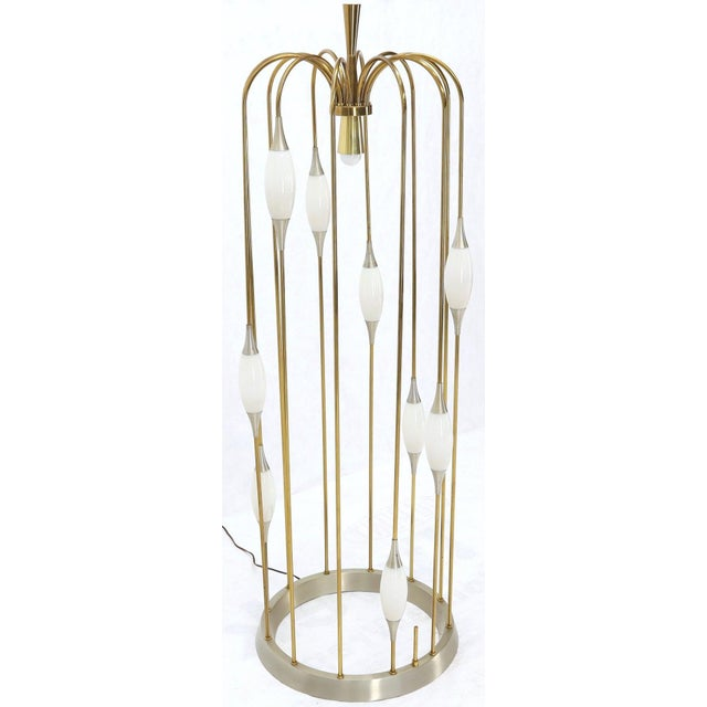 White Large Waterfall Brass Floor Lamp Light Fixture For Sale - Image 8 of 12