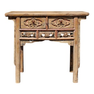 Chinese Vintage Drawer Raw Wood Rustic Side Table For Sale