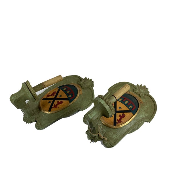 Vintage Italian Wood Sconce With Crest - a Pair For Sale - Image 11 of 12