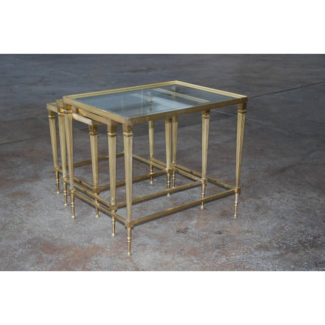 Circa 1950, Italian, Mid-Century Modern, Brass & Mirrored Glass, Nesting Tables - Set Of For Sale In Richmond - Image 6 of 10