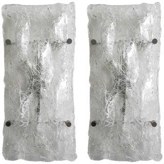 Pair of Crackled Sconces / Flush Mounts by Venini For Sale