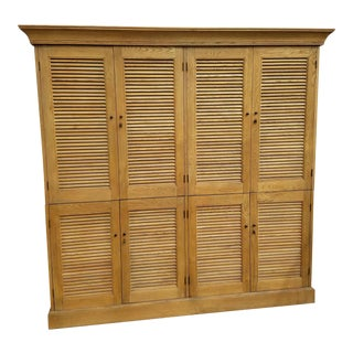 Restoration Hardware Shutter Double Armoire Weathered Oak Drifted For Sale