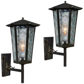 1950s Large Scandinavian Outdoor Wall Lights in Patinated Copper and Glass - a Pair For Sale