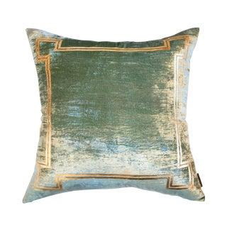 Aria Sea Foam Green Silk Velvet Pillow With Gold Foil Accents