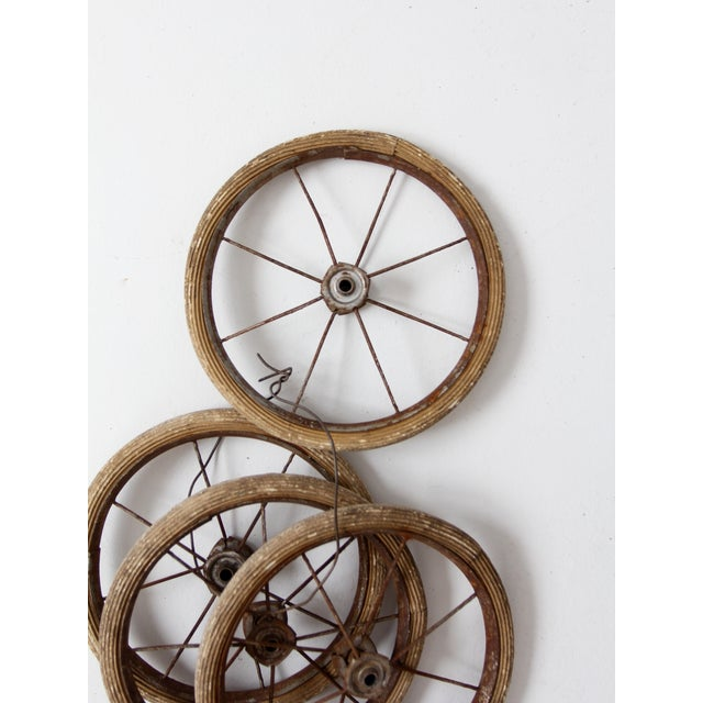 Early 20th Century Vintage Doll Carriage Wheels - Set of 4 For Sale - Image 5 of 7