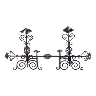 Early 20th Century Swirled Hand-Wrought Iron Andirons Fireplace Set- 4 Piece For Sale