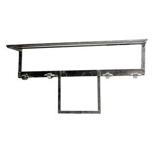 Art Deco Nickel Plated Steel Wall Hook Rack For Sale