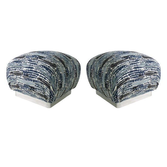 Pair of Souffle Poufs with Chrome Base For Sale