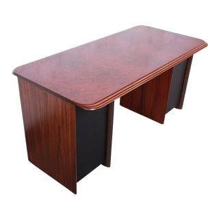 Afra and Tobia Scarpa for B&B Italia Rosewood, Burl and Leather Desk, 1970s For Sale