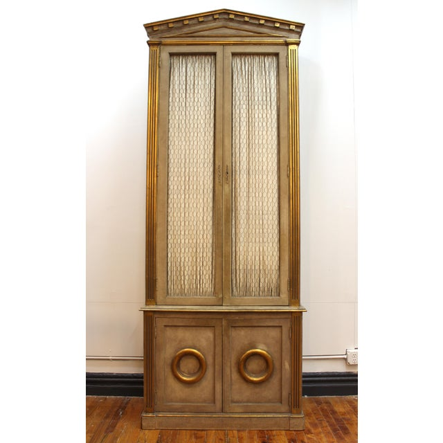 Goldenrod Monumental Neoclassical Revival Style Pedimented Wood Cabinets - a Pair For Sale - Image 8 of 13