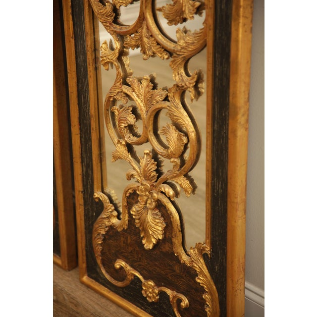 "Glass Castilian 76"" Tall Pair Gilt Carved Rococo Chinoiserie Painted Mirror Wall Panels For Sale - Image 7 of 12"