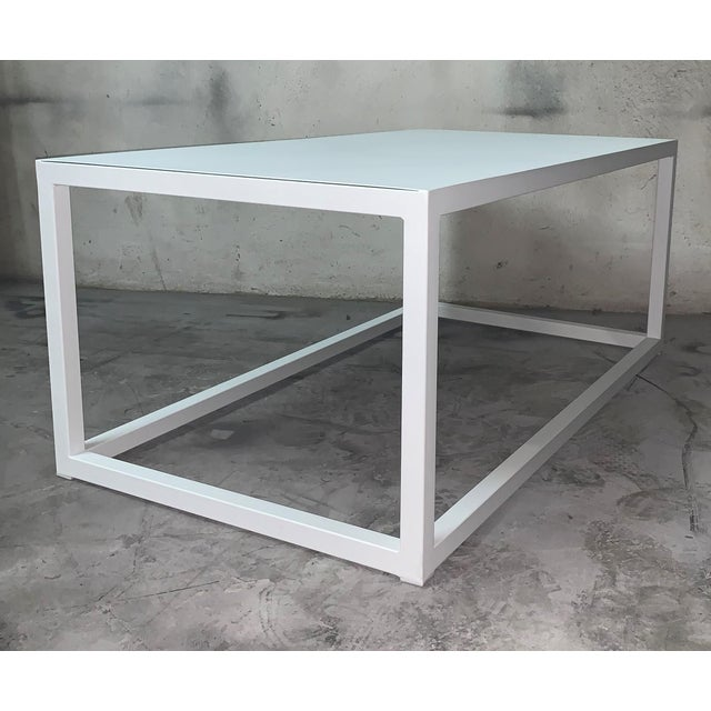 Metal New Modern Rectangular White Table With Metal Top, Indoor or Outdoor For Sale - Image 7 of 12