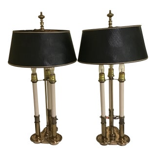 French Charles X Style Bouillotte 3 Arm Table Lamps - a Pair For Sale