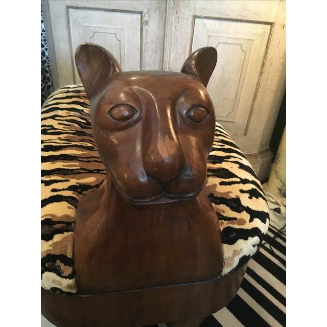 Vintage 1950s Wooden Tiger Bench For Sale - Image 4 of 6