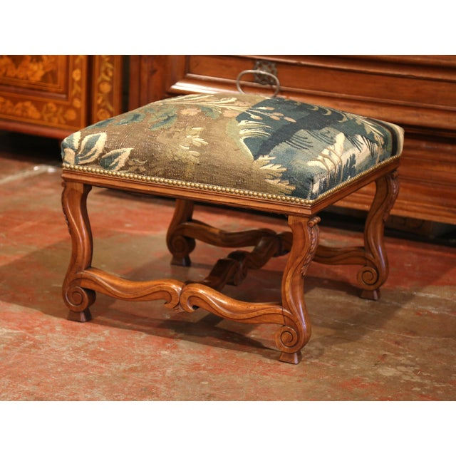 19th Century French Louis XIII Carved Walnut Stool and Verdure Aubusson Tapestry For Sale - Image 4 of 11