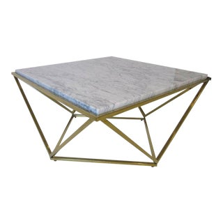 Milo Baughman Styled Brass and Italian Marble Coffee Table
