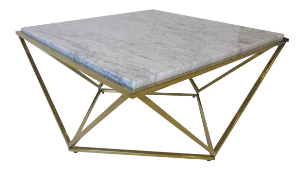 Lovely Milo Baughman Styled Brass And Italian Marble Coffee Table | DECASO