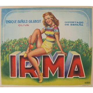 Vintage 1950s Spanish Mini-Poster/Irma Pin-Up For Sale