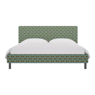 California King Tailored Platform Bed in Teal Geo For Sale