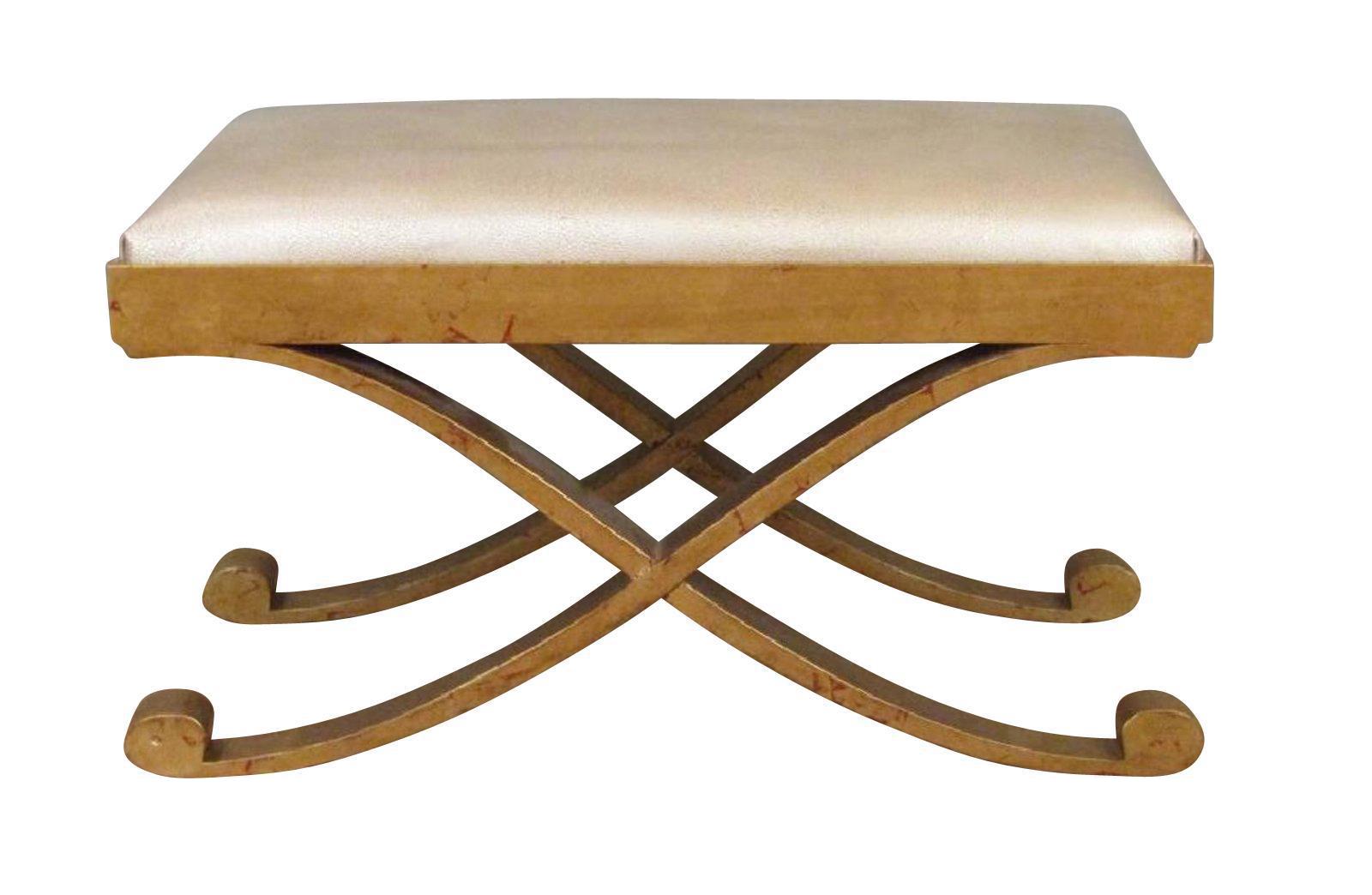 X Shaped Mid Century Modern Ottoman   Image 1 Of 6