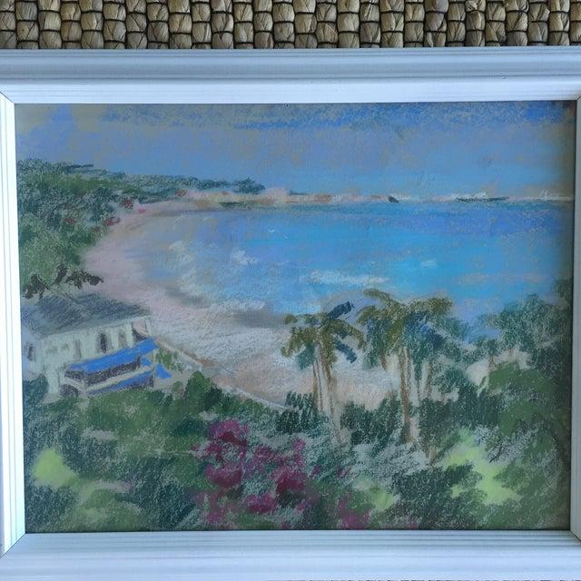 Original Oil Pastel Caribbean Coastline Seascape Framed Art - Image 3 of 10