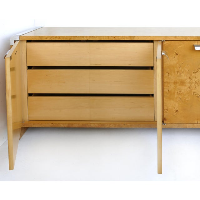 Pace Collection Leon Rosen Pace Collection Burlwood Credenza With Stainless Steel Accents For Sale - Image 4 of 10
