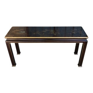 Chippendale Asian Flair Henredon Mahogany Lacquered Birds Console Table For Sale