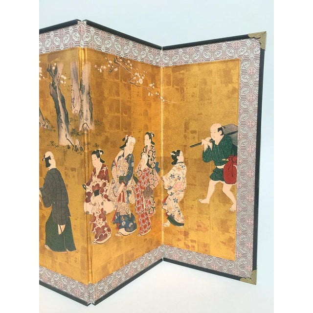 Vintage 1970s Chinese Gold Table or Desk Top Folding Screen For Sale - Image 4 of 11