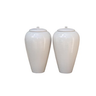 Bloomingdale's Portuguese Porcelain Vases With Lids, a Pair For Sale