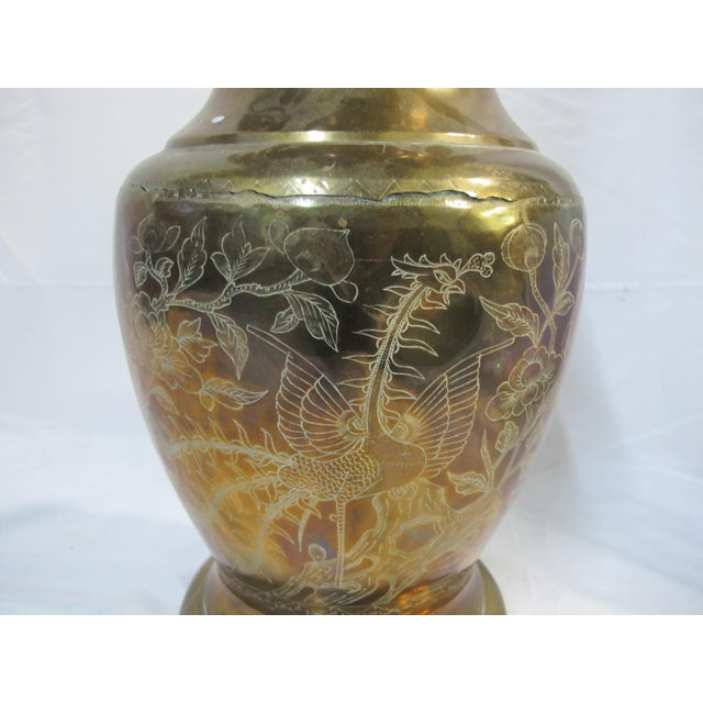 Early 20th Century Chinese Brass Etched Dragon & Phoenix Urn Vase Pot For Sale - Image 5 of 9